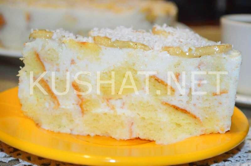 Торт сметанный с бананами рецепт с пошагово