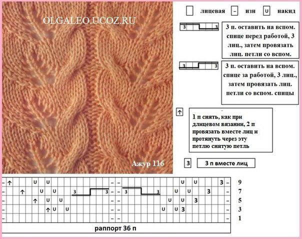 Схемы вязания ажуров с косами 643