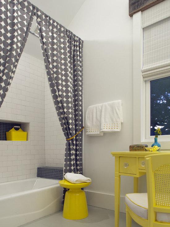 78Дизайн ванной комнаты со шторами