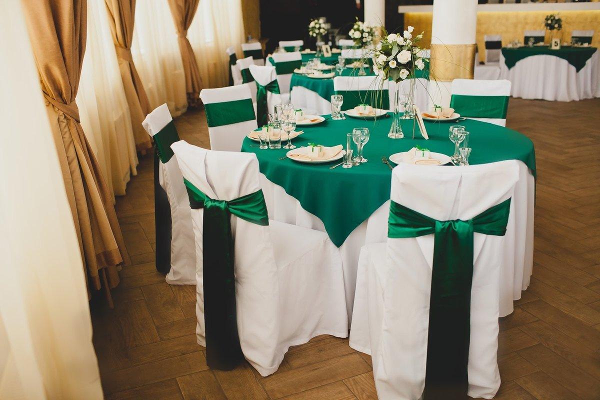 Украшение зала на свадьбу в зеленом фото