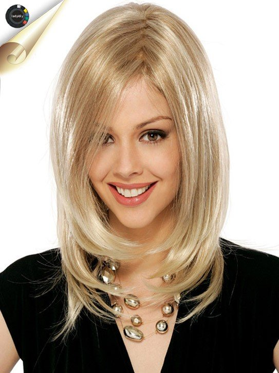 Прически на средней длины блондинки
