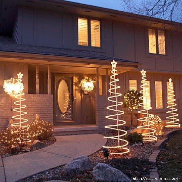 Украшение фасада дома на новый год своими руками
