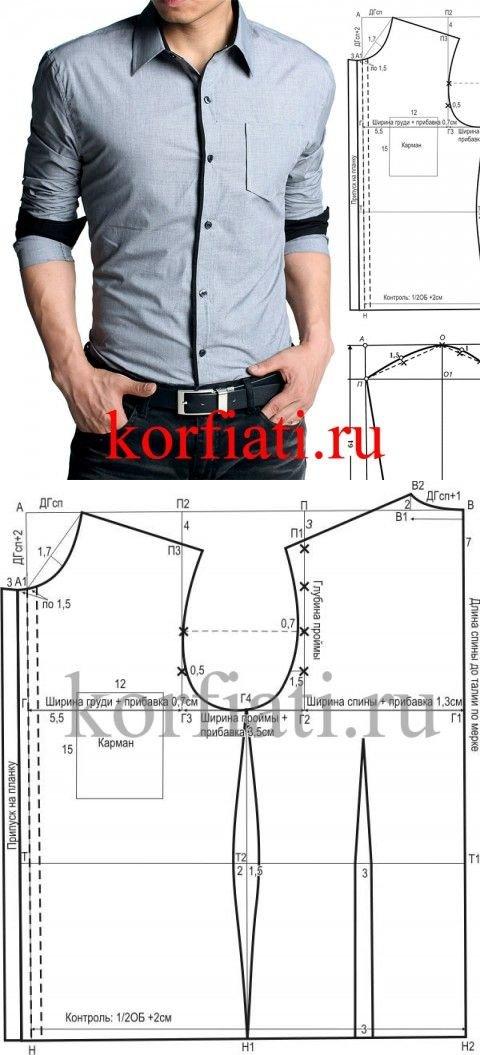 Как сшить мужскую рубашку по выкройке