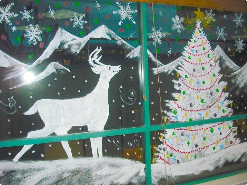 Рисуем на стеклах к новый год