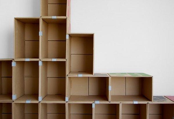 Полки из картонных коробок своими руками