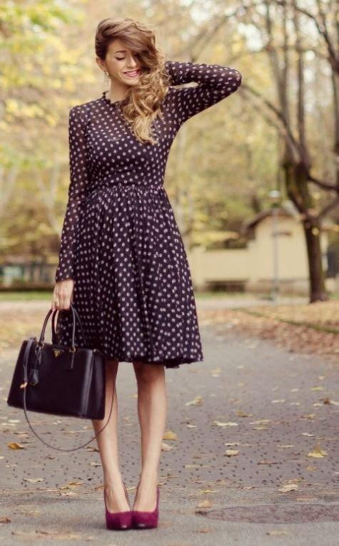Образы с платьем в горошек