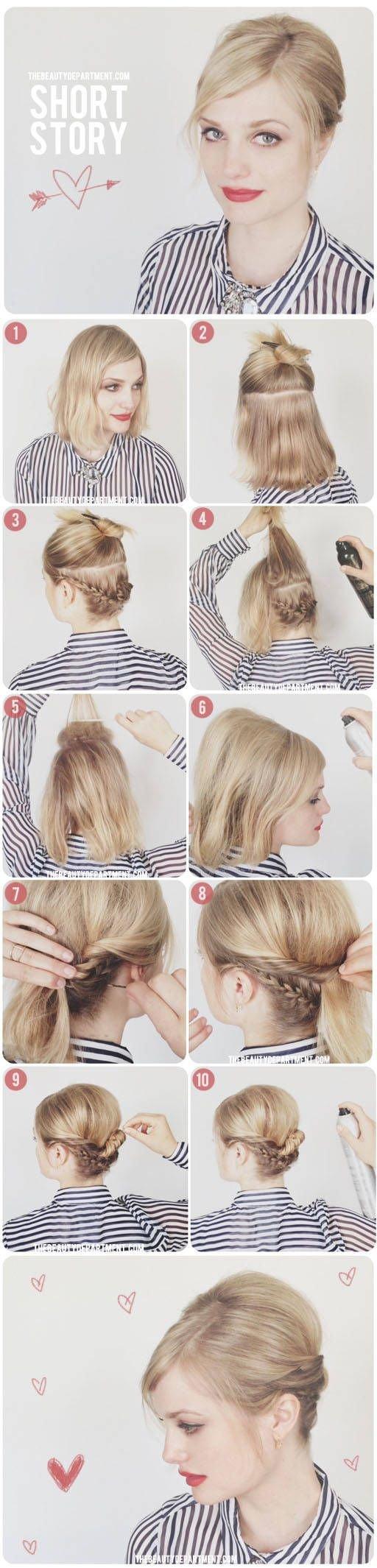 Причёски с короткими волосами для девушек пошагово