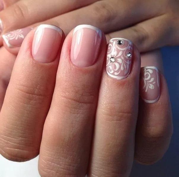 Свадебный маникюр на короткие ногти гель