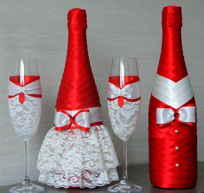 Как украсить бутылка шампанского на свадьбу своими руками 70