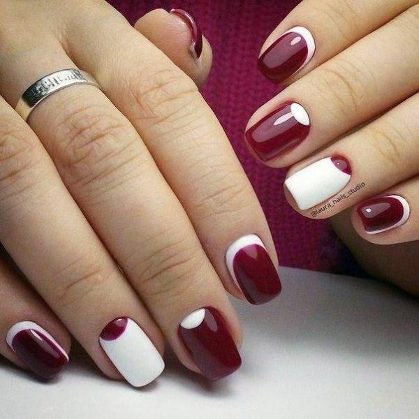 Бело бордовые ногти