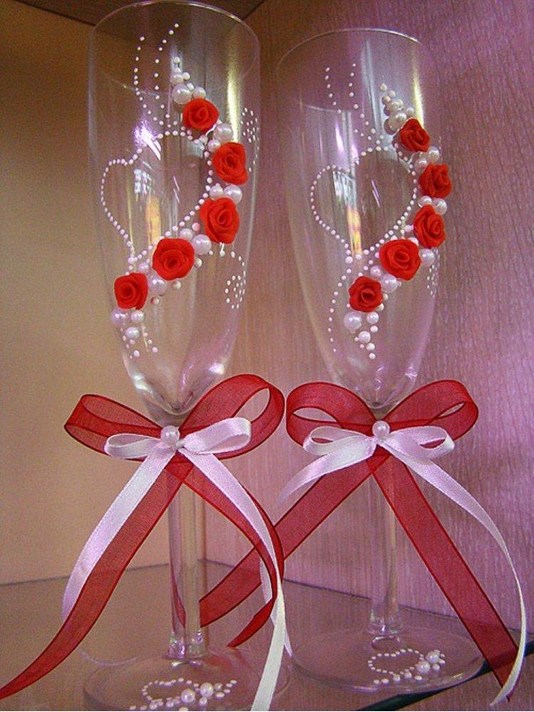 Как красиво украсить бокалы на свадьбу своими руками фото