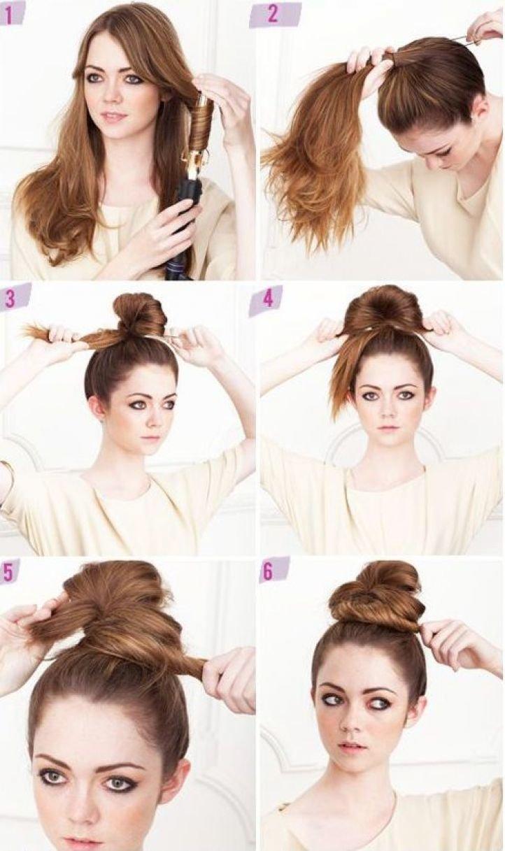 Как самой себе сделать высокую прическу на средние волосы 716