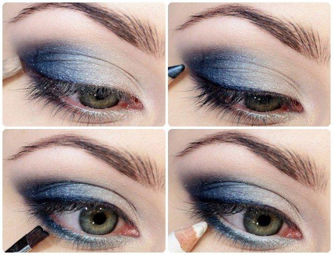 Дневной легкий макияж для голубых глаз фото пошагово в