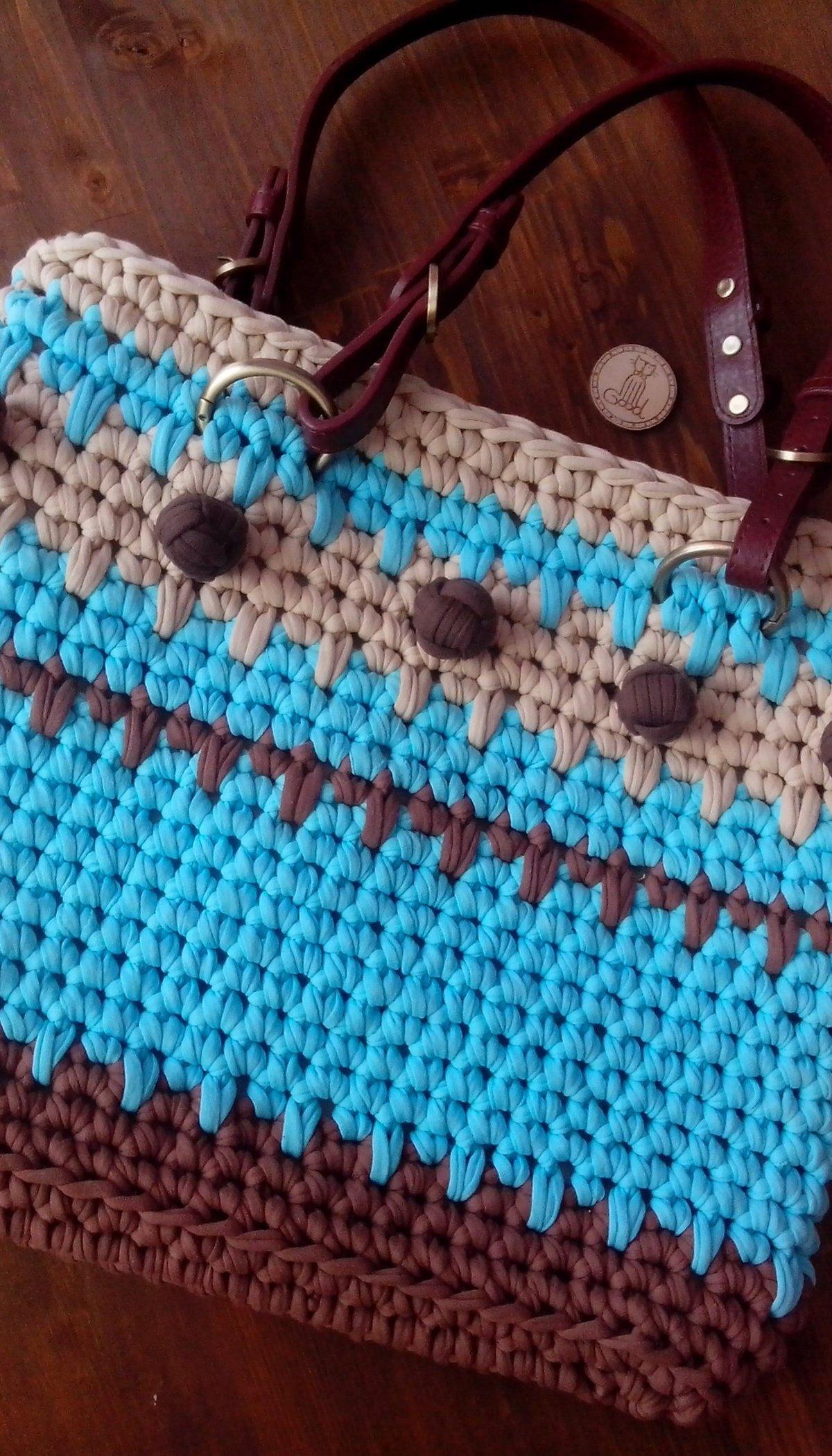 Вязание крючком трикотажными лентами