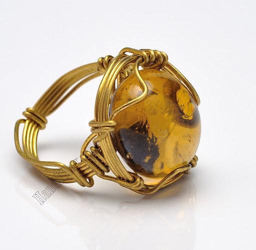 Как сделать кольцо с камнем из проволоки