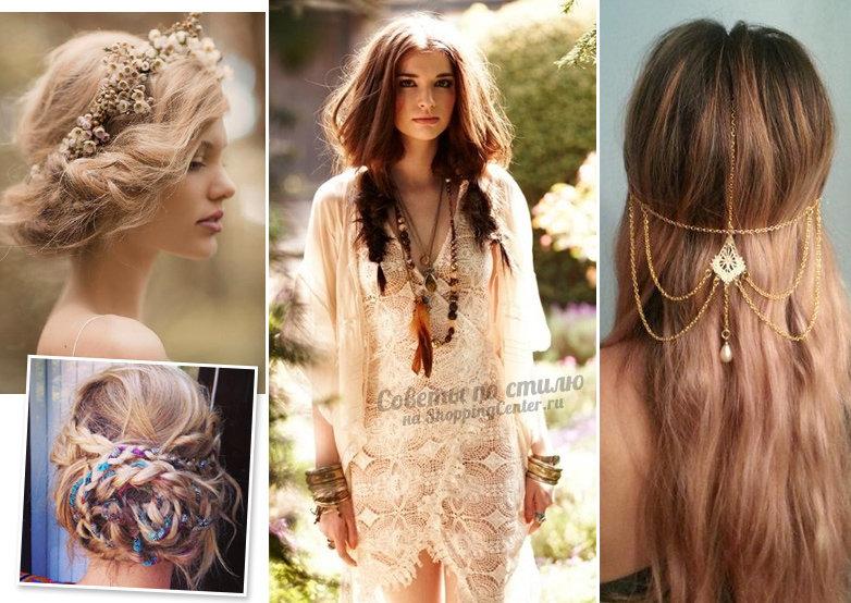 Прическа в стиле бохо средние волосы