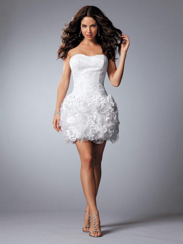 Красивое свадебное платье короткое