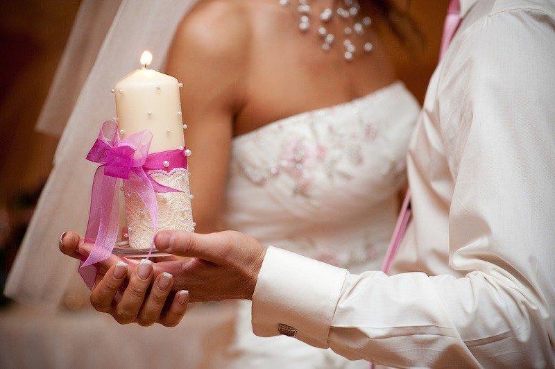 Украшение свадебных свеч своими руками 511