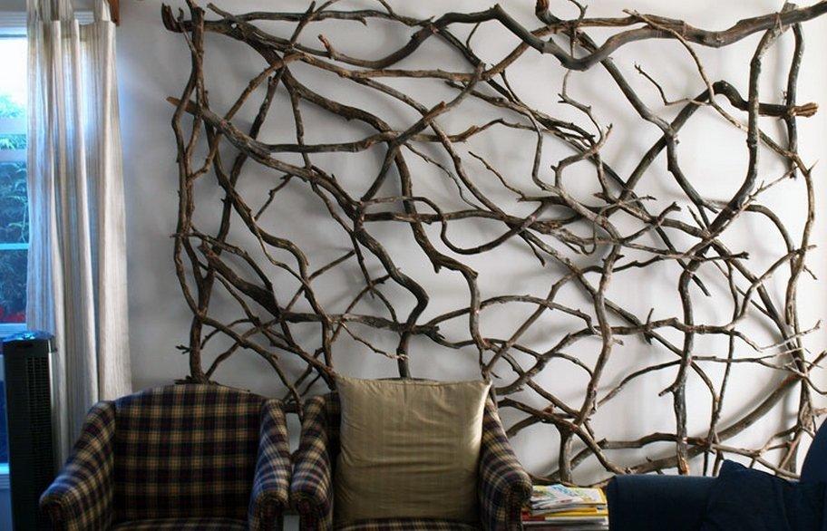 Дизайн стен из веток