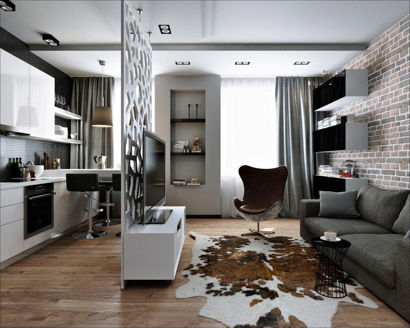 Дизайн квартиры студии 17 кв.м современный