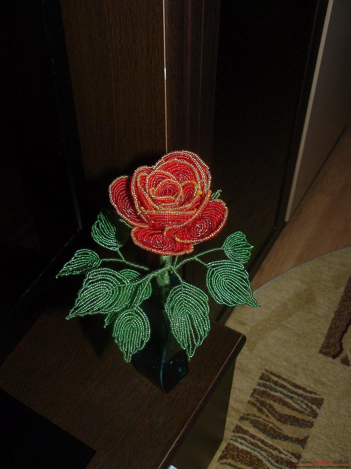 Роза из бисера фото инструкция