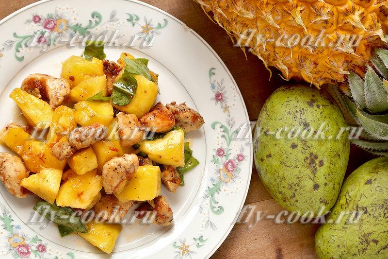 Салаты с ананасами без майонеза рецепты