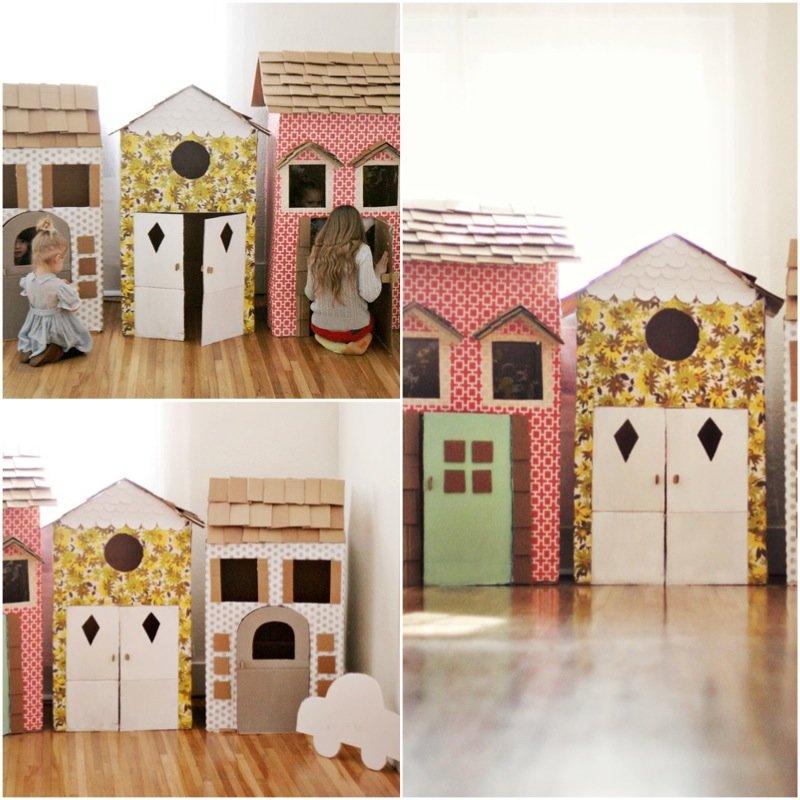 Детские домики из картонных коробок своими руками 9