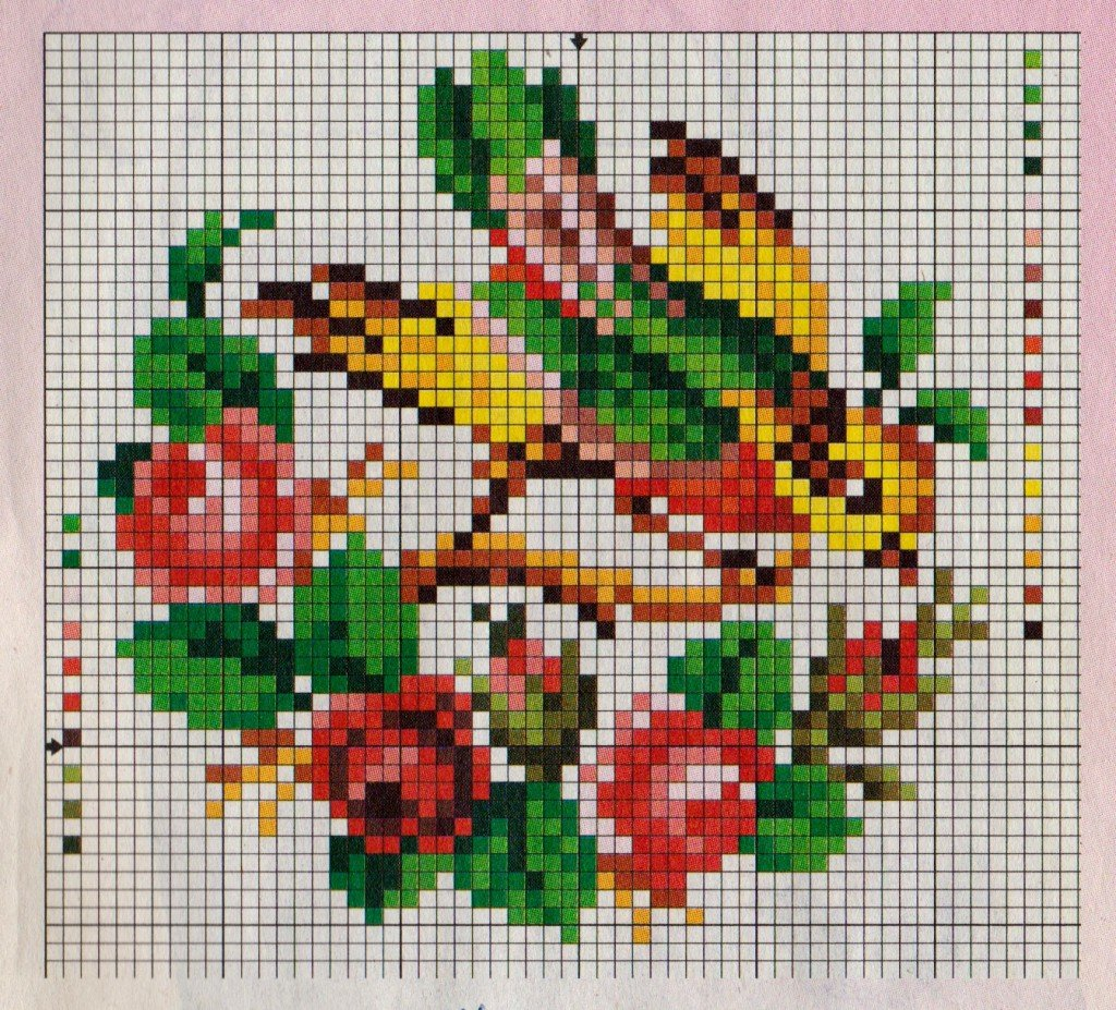 Вышивка крестом птицы на цветах 460