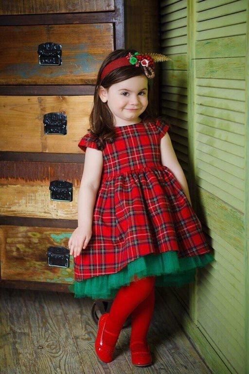 Красное платье в клетку для девочек