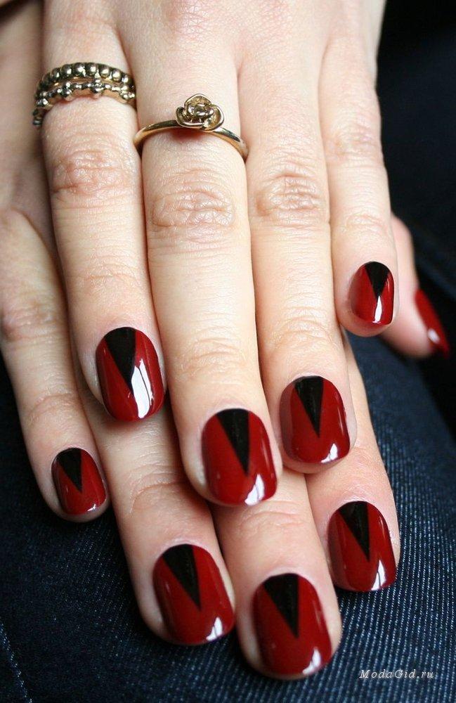 Красно черный дизайн на короткие ногти
