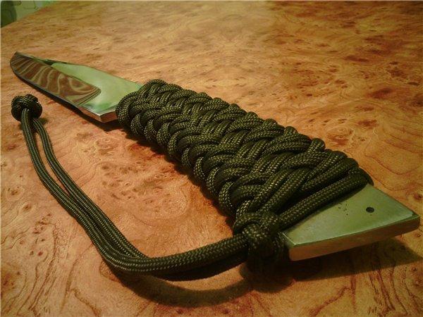 Плетеная из кожи рукоятка для ножа