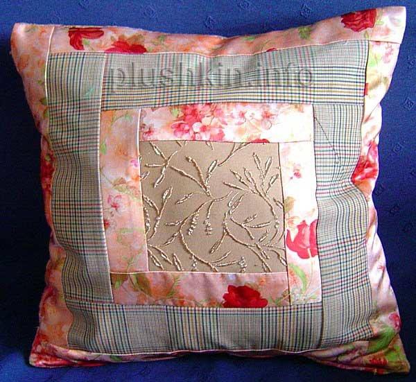 Сшить наволочку на подушку из кусков ткани 85