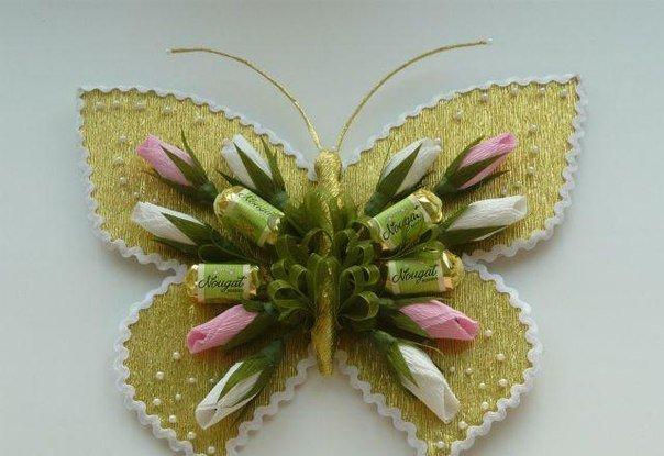 Бабочка из конфет своими руками фото 6