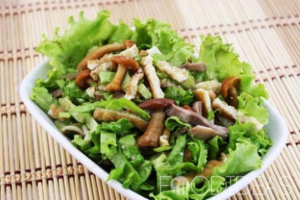 Вкусный салат с языком и грибами рецепт