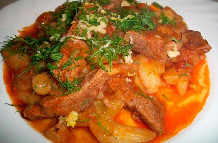 Рецепт азу из говядины без картофеля