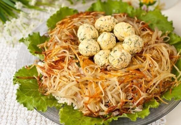 Салат гнездо пошаговый рецепт