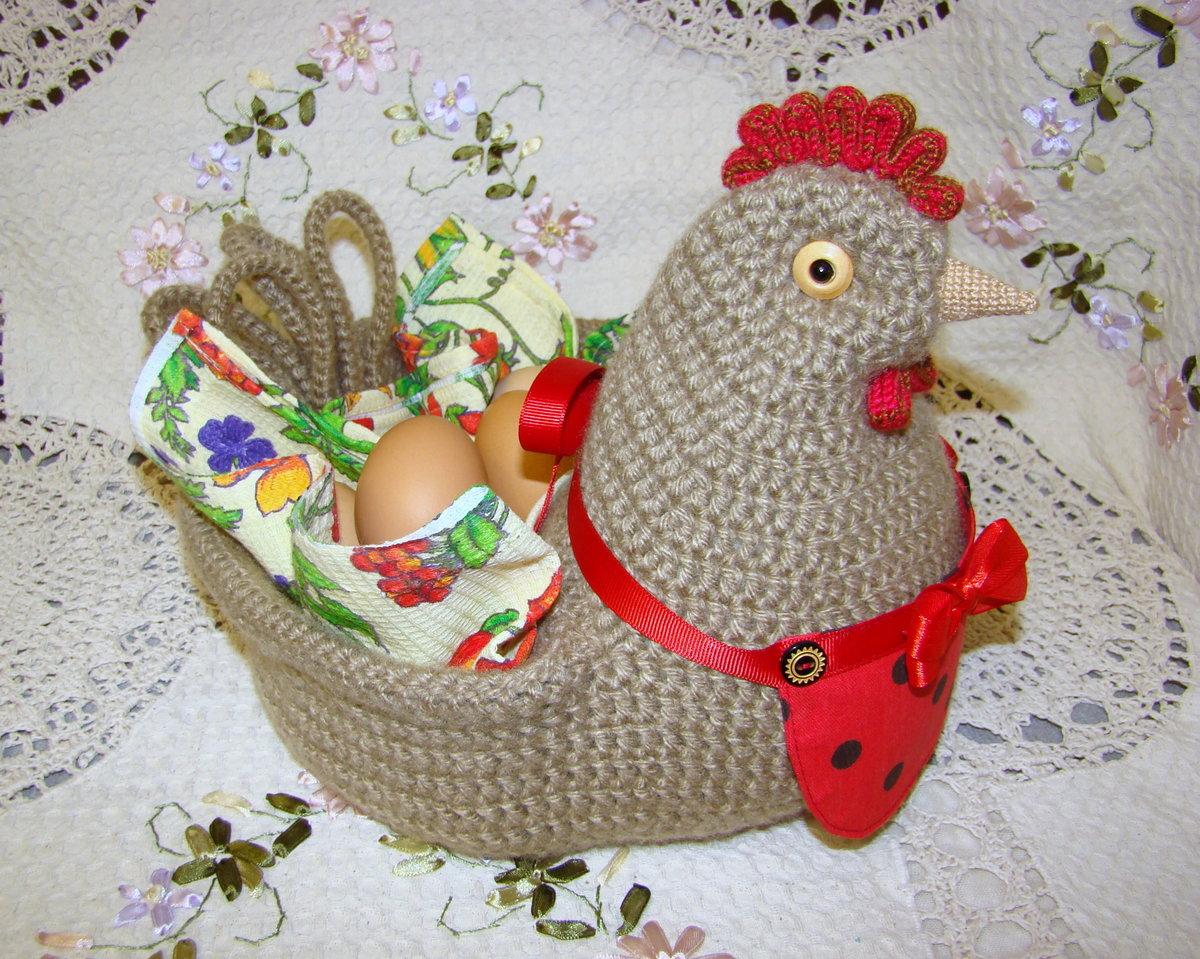 Пасхальная курочка для яиц крючком мастер класс