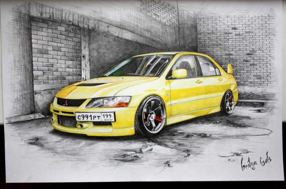 Рисуем карандашом цветным машину