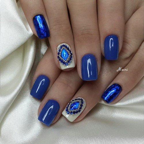 Дизайн ногтей под синее платье на короткие ногти дизайн