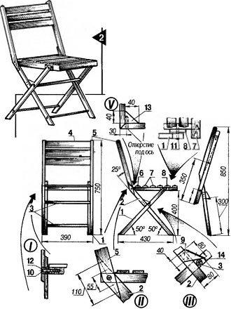 Раскладные стулья со спинкой чертежи