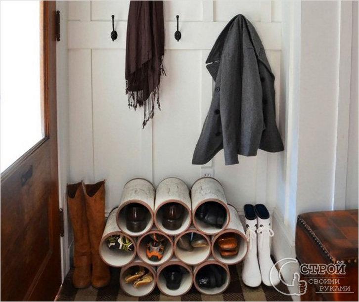 Как сделать полку для обуви из труб