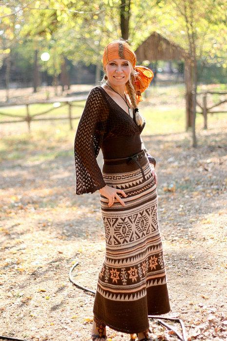 Платье тунисское вязание 64