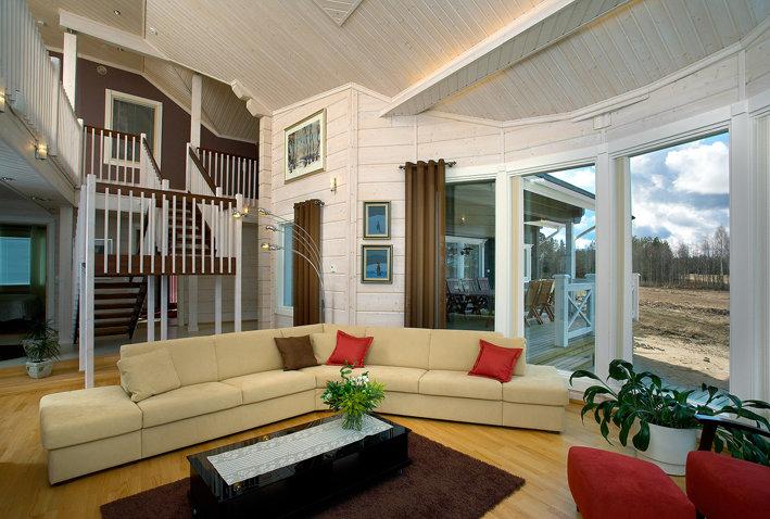 379Фото дизайн интерьера дома из клееного бруса