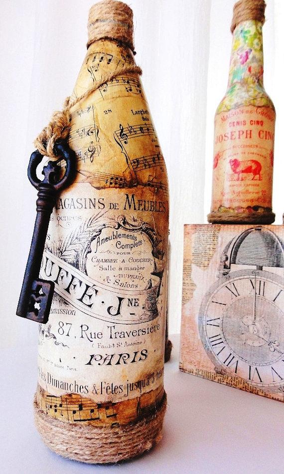 Бутылки в стиле декупаж как сделать