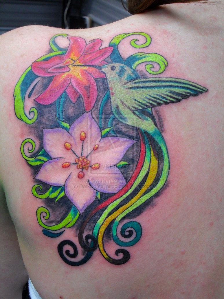Колибри и цветы тату
