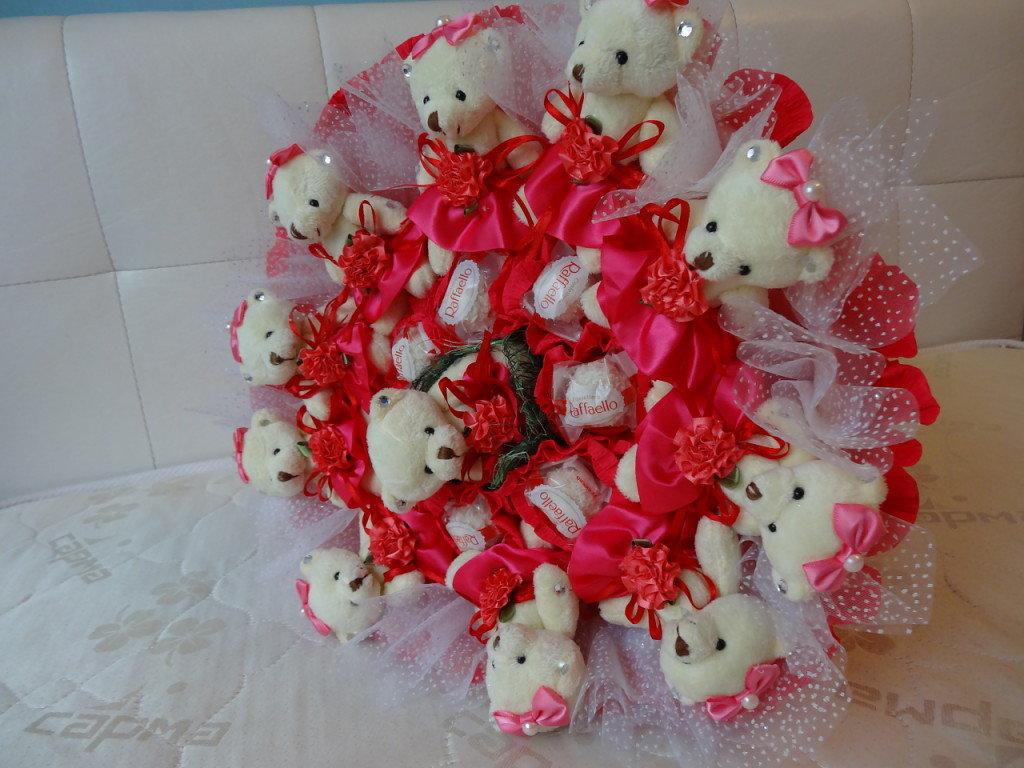 Букет из мишек с конфетами своими руками 67