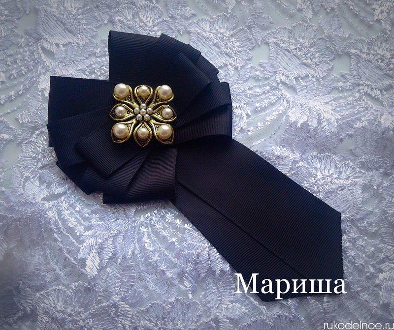 Брошь галстук из репсовых лент мастер класс