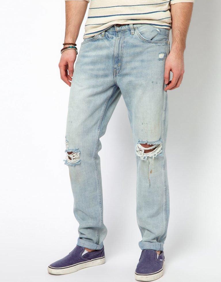 Дырявые мужские джинсы