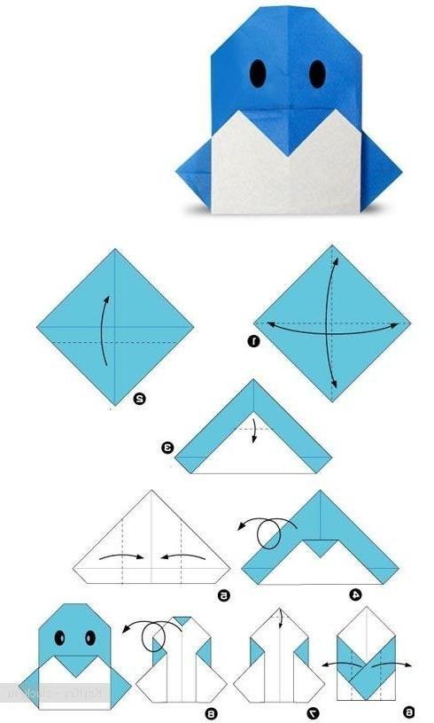 Оригами пингвин схема сборки