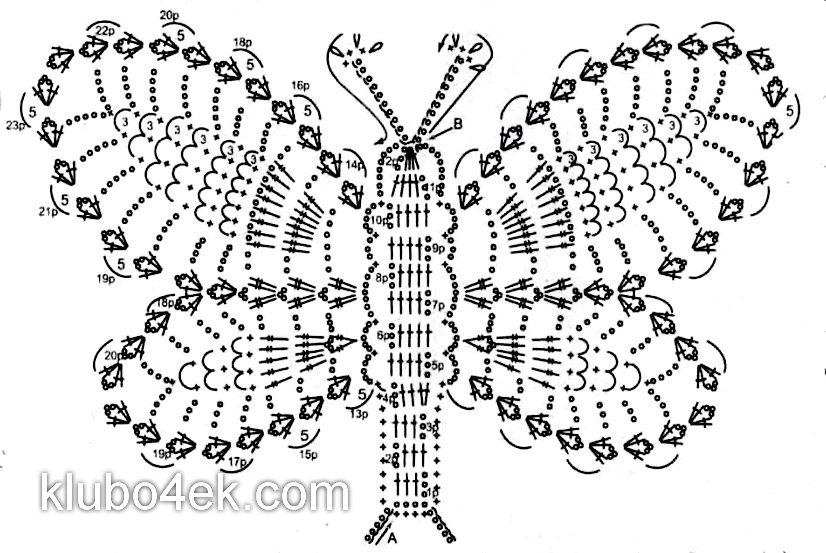 Бабочки связанные Крючком Лучшие Схемы Описания и Мастер